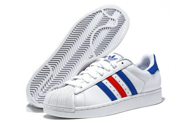 Adidas Superstar 貝殼頭經典款 男女情侶鞋 (白藍紅36-44)