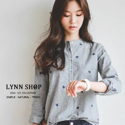 條紋立領小樹葉刺繡長袖襯衫