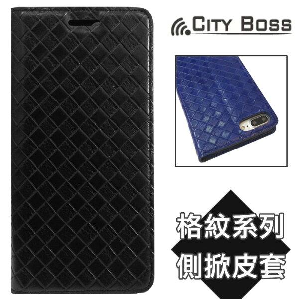 CITY BOSS 格紋系列*5.5吋 iPhone 7 PLUS/i7+ 手機套 磁吸側掀皮套/側翻/保護套/背蓋/支架/軟殼/手機殼/保護殼/黑色