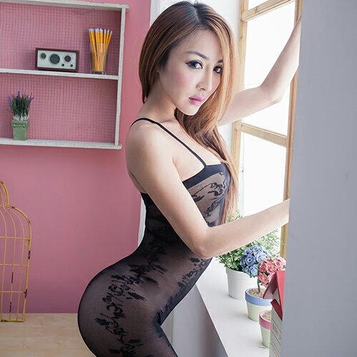 黑色連身貓裝 開檔仿刺青貓裝式情趣睡衣~流行E線B091