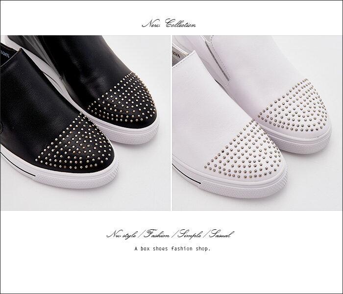 格子舖*【KF8503-9】韓國製造 質感真皮 鉚釘綴飾鞋頭 4CM內增高厚底包鞋休閒鞋 懶人鞋 2色 1