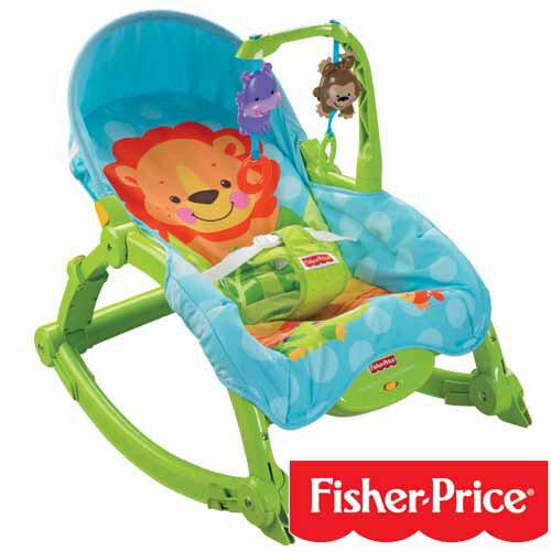 【奇買親子購物網】費雪牌 Fisher-Price 可愛動物可攜式兩用安撫躺椅