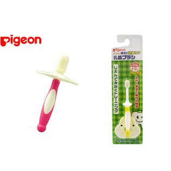 【奇買親子購物網】貝親 PIGEON  第1/2階段刷牙練習(6-8月/8-12月)