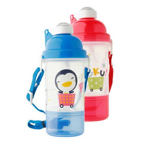 【奇買親子購物網】藍色企鵝 PUKU Petit 彈跳吸管水壺400C.C-(藍/粉)