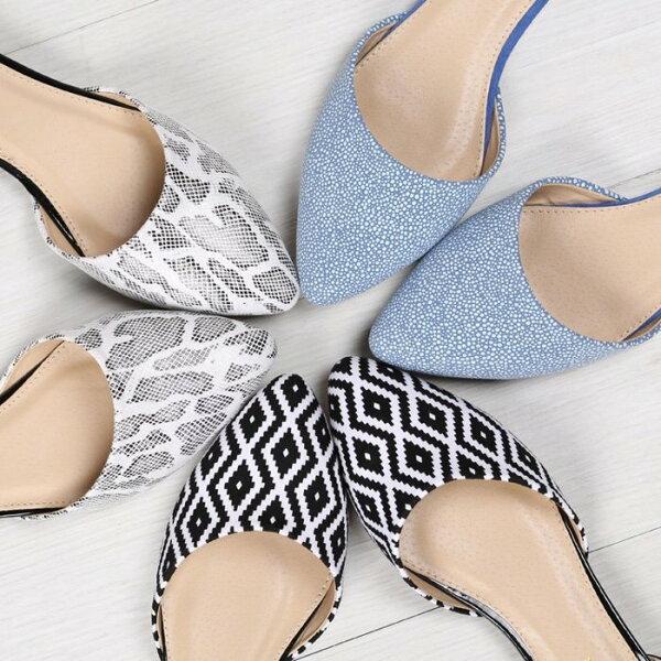 【Pyf】歐美新款 白蛇紋 黑色格子 藍色拼色 防滑 中空尖頭平底鞋 42 43 大尺碼女鞋