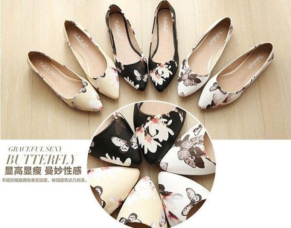 【Pyf】氣質水墨花卉 小尖頭平底鞋 防滑豆豆鞋 42 43大尺碼女鞋
