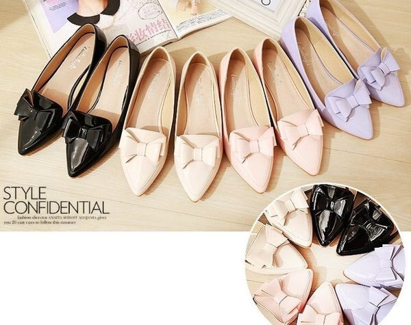 【Pyf】粉嫩色 甜美蝴蝶結 漆皮尖頭平底鞋 42 43 大尺碼女鞋