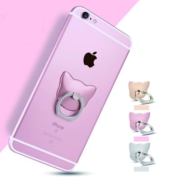 【現貨供應 最低價】貓頭造型懶人指環支架 手機通用款 黏貼式 IF0153
