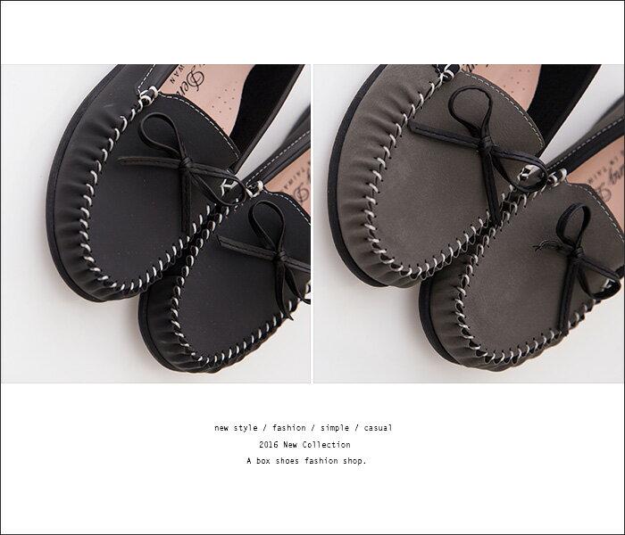 格子舖*【AW2313】MIT台灣製 簡約蝴蝶結 車線設計仿牛巴皮革 柔軟舒適 平底包鞋 懶人鞋 3色 2