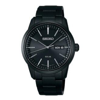 Seiko Spirit V158-0AM0K(SBPX065J)休閒簡約太陽能雙日曆腕錶/黑面39mm