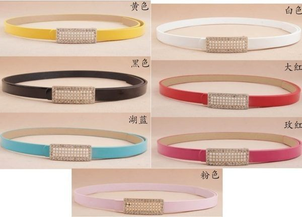 ★草魚妹★H320腰帶甜美珍珠鑲嵌點鑽簡約優雅細腰帶皮帶,售價139元