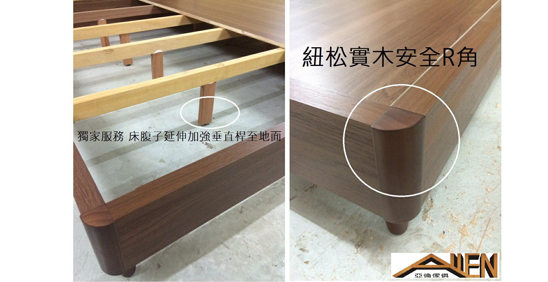 亞倫傢俱*亞當斯安全R角5尺雙人床架 (床頭箱款) 1