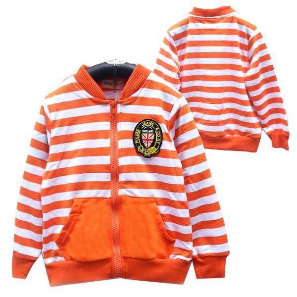 【班比納精品童裝】彈力條紋學院風毛圈小外套-橘【BB150731011】