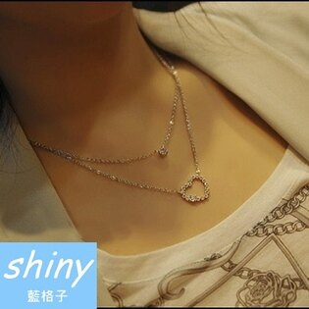 【DJX1109】shiny藍格子-雙層心型閃亮水鑽項鍊