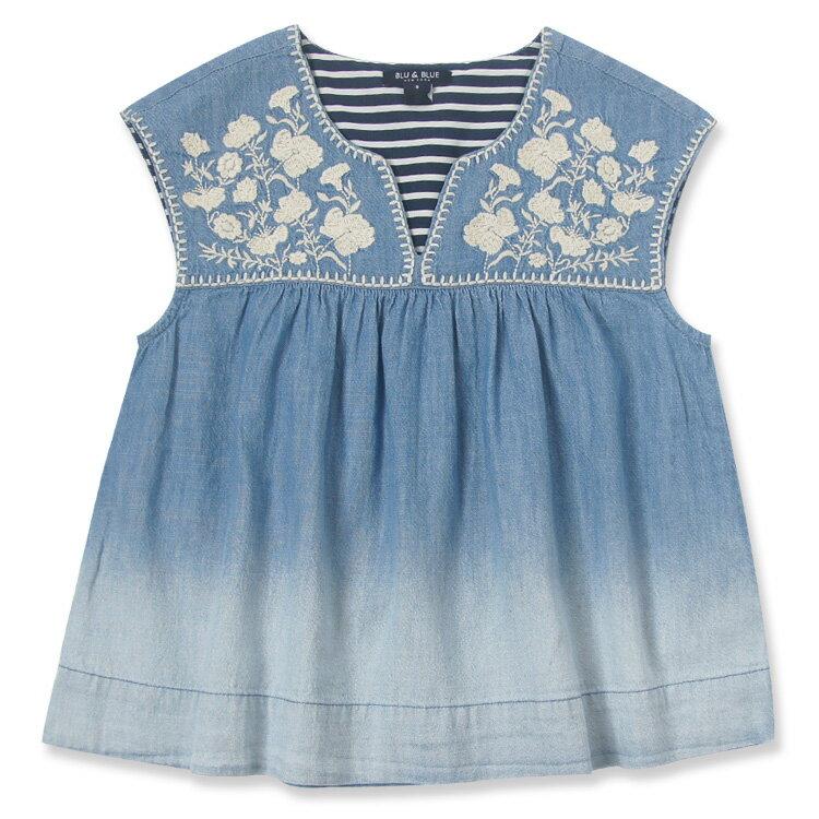 Blu&Blue 刺繡漸層上衣(6-10歲) - 限時優惠好康折扣
