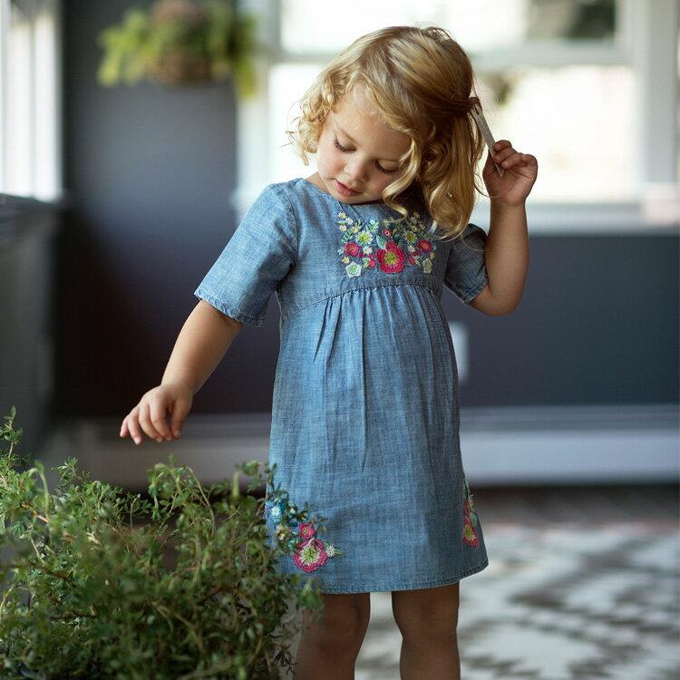 Blu&Blue 花卉刺繡洋裝 (2-6歲) 0