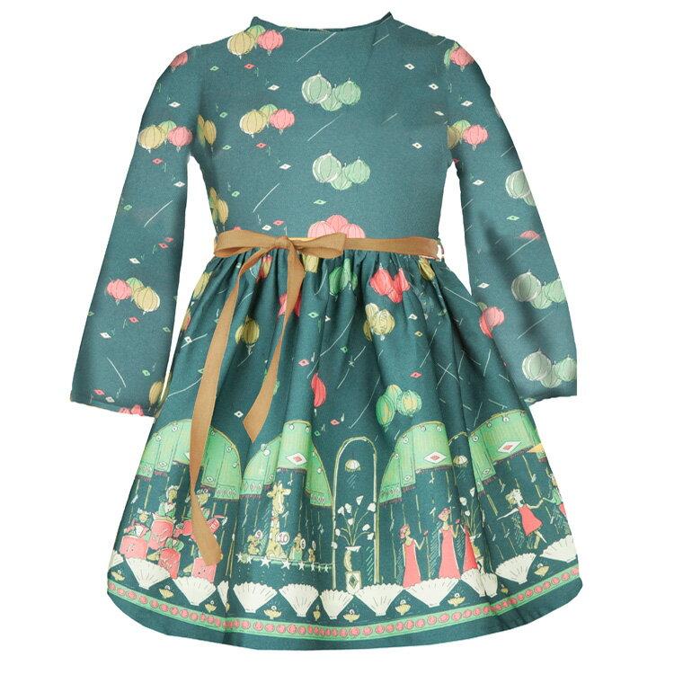 Palava 氣球派對洋裝 長袖 湖水綠 ( 2-7歲) 1