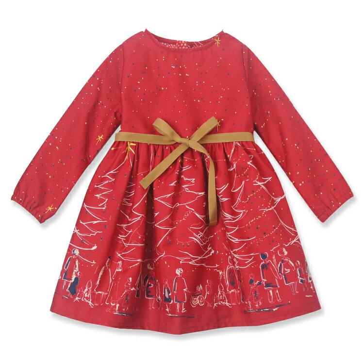 Palava 聖誕夜洋裝 長袖 紅 ( 2-7歲) 1