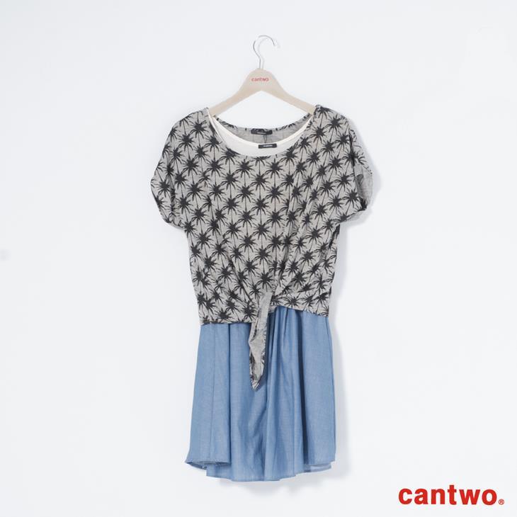 cantwo熱帶滿版椰子樹兩件式洋裝(共二色) 6