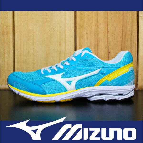 【出清65折!】萬特戶外運動-MIZUNO美津濃 J1GD153501 WAVE AERO 14 輕量 慢跑 路跑 室內運動 水藍 女鞋