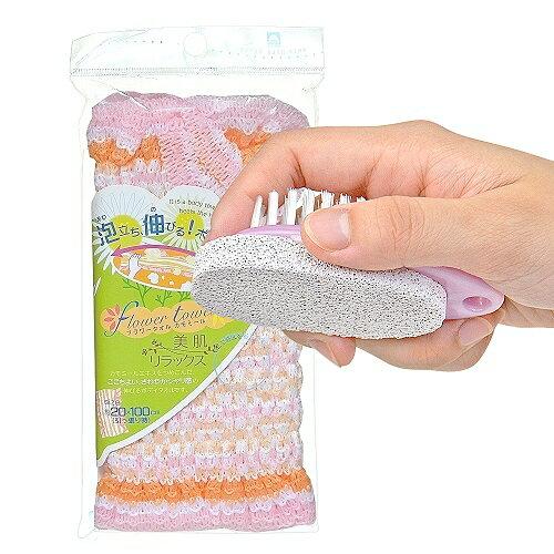 ~夏日沐浴特惠組~ kikulon伸展型洋甘菊護膚沐浴巾 去角質輕石刷 ~  好康折扣