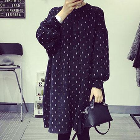 洋裝 日系樹葉印花長袖寬鬆連身裙【D3002】☆雙兒網☆