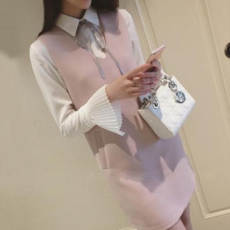 洋裝 典雅名媛蝴蝶結綁帶兩件式洋裝【D3011】☆雙兒網☆ 1