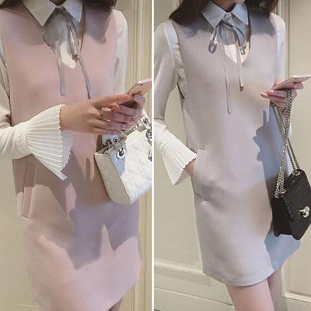 洋裝 典雅名媛蝴蝶結綁帶兩件式洋裝【D3011】☆雙兒網☆ 0