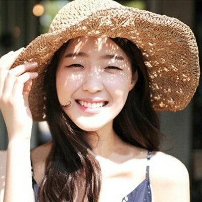 草帽 韓版氣質編織沙灘帽遮陽帽【O2924】☆雙兒網☆ 0