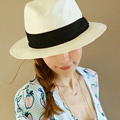 草帽 歐美時尚白色遮陽帽沙灘帽【O2925】☆雙兒網☆ 1