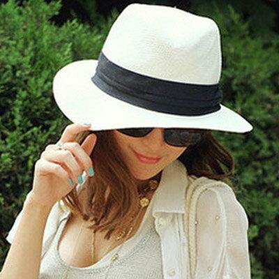 草帽 歐美時尚白色遮陽帽沙灘帽【O2925】☆雙兒網☆ 2