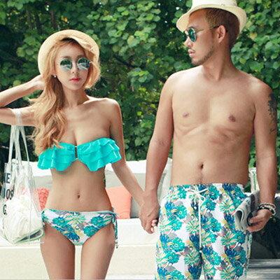 泳衣 韓版荷葉邊3件式比基尼海灘褲情侶泳裝【O2931】(男裝)☆雙兒網☆ 2