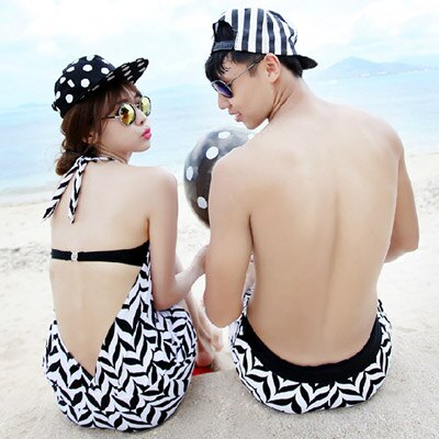 泳衣 幾何圖案三件式比基尼海灘褲情侶泳裝【O2932】(女裝)☆雙兒網☆ 2