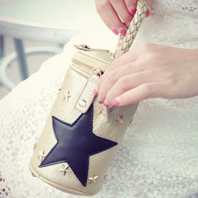 手提包 星星鉚釘迷你鍊條側背包圓筒包【O2975】☆雙兒網☆ 1