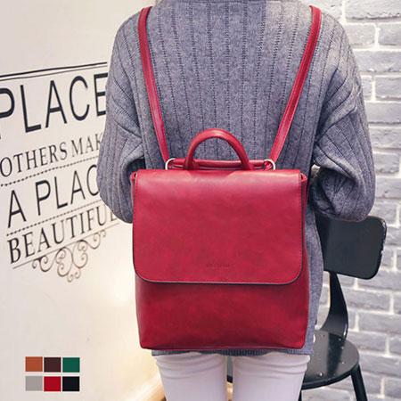 後背包 韓版百搭質感皮革方型背包【O3021】☆雙兒網☆ 0