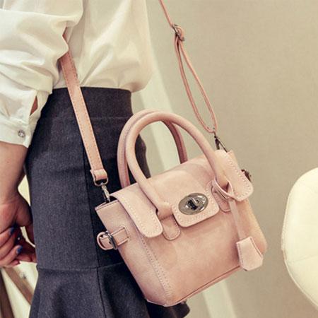 手提包 歐美流行磨砂百搭鎖頭包側背包【O3037】☆雙兒網☆ 1
