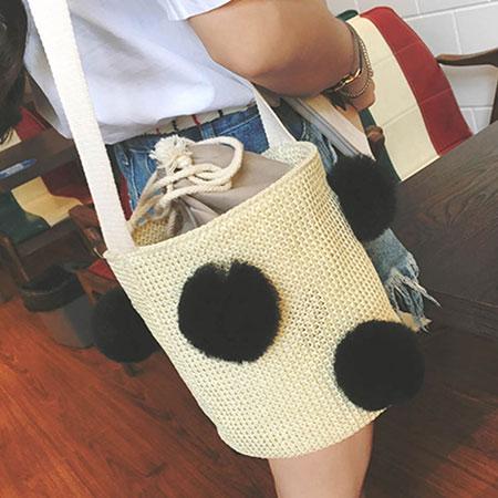 手提包 韓版可愛球球漱口編織圓桶包【O3136】☆雙兒網☆ 2