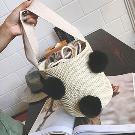 手提包 韓版可愛球球漱口編織圓桶包【O3136】☆雙兒網☆ 0