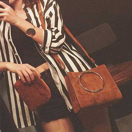 側背包 時尚質感圓環磨砂皮肩背包【O3170】☆雙兒網☆ 0