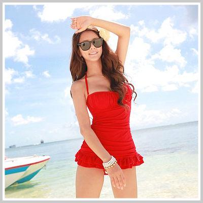 韓國可愛不外露小肚繞頸荷葉裙連身泳衣【O854】☆雙兒網☆