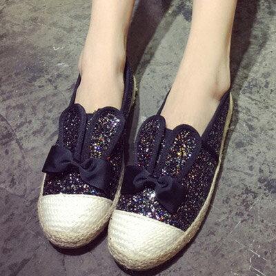 懶人鞋 超可愛編織感亮片兔耳朵休閒鞋【S1069】☆雙兒網☆ 2