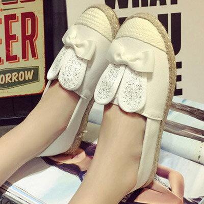 懶人鞋 超可愛編織感亮片兔耳朵休閒鞋【S1069】☆雙兒網☆ 3
