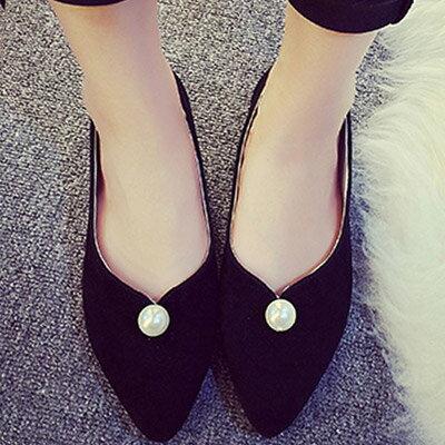 尖頭鞋 優雅簡約珍珠平底尖頭鞋包鞋【S1205】☆雙兒網☆ 1