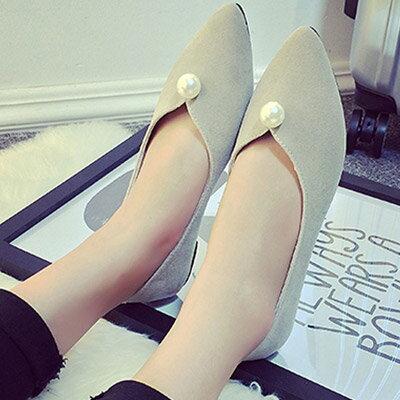 尖頭鞋 優雅簡約珍珠平底尖頭鞋包鞋【S1205】☆雙兒網☆ 2