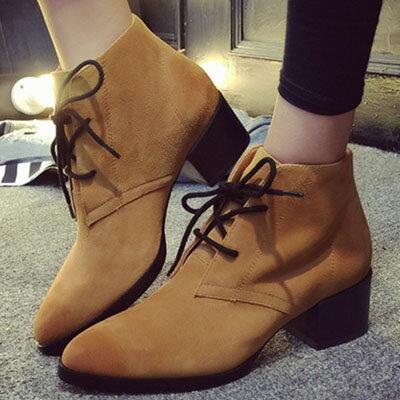 短靴  歐美磨砂皮尖頭短靴【S1282】☆雙兒網☆ 1
