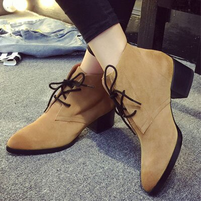 短靴  歐美磨砂皮尖頭短靴【S1282】☆雙兒網☆ 2