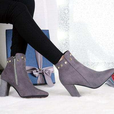 短靴 歐美流行絨布鉚釘尖頭短靴【S1433】☆雙兒網☆ 1