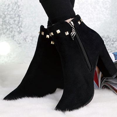 短靴 歐美流行絨布鉚釘尖頭短靴【S1433】☆雙兒網☆ 2