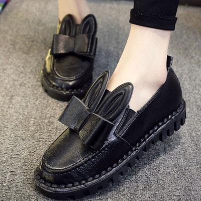 樂福鞋 可愛兔耳蝴蝶結皮革樂福鞋【S1506】☆雙兒網☆ 2