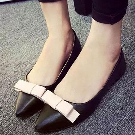 尖頭鞋 明星同款優雅蝴蝶結尖頭平底鞋【S1534】☆雙兒網☆ 1